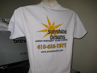 Screen printing short sleeve tee from Sunshine Designs